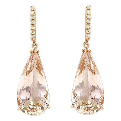 30.20 Carat Natural Morganite 14K Solid Rose Gold Diamond Earrings - Fashion Strada