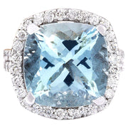 10.88 Carat Natural Aquamarine 14K Solid White Gold Diamond Ring - Fashion Strada