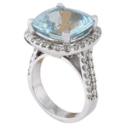 10.88 Carat Natural Aquamarine 14K Solid White Gold Diamond Ring