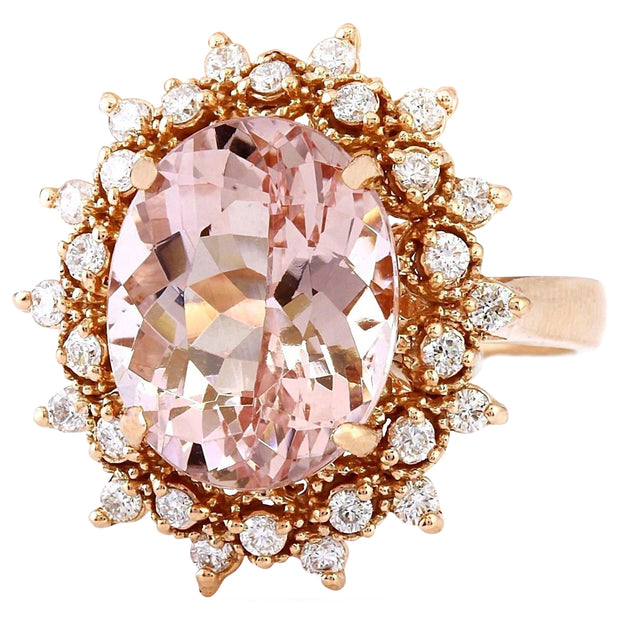 5.70 Carat Natural Morganite 14K Solid Rose Gold Diamond Ring
