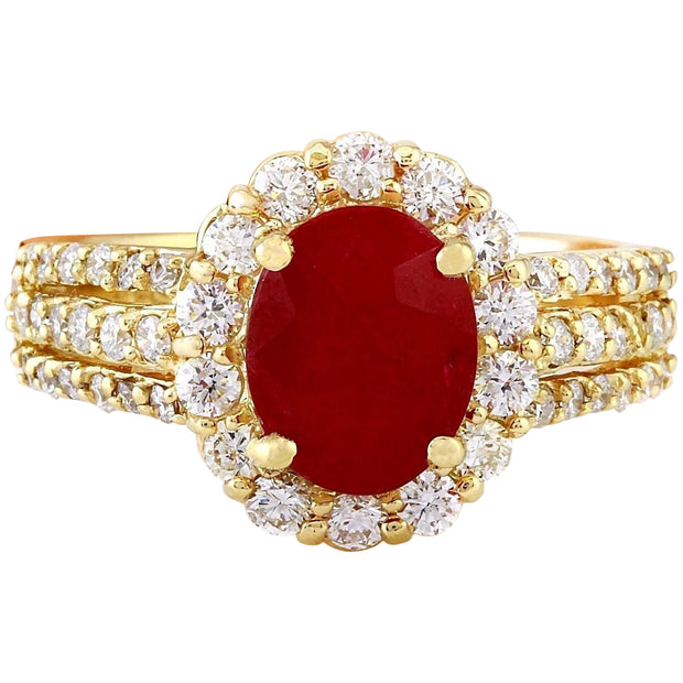 3.73 Carat Natural Ruby 14K Solid Yellow Gold Diamond Ring - Fashion Strada
