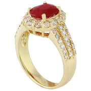 3.73 Carat Natural Ruby 14K Solid Yellow Gold Diamond Ring