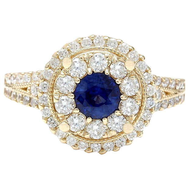 2.10 Carat Natural Sapphire 14K Solid Yellow Gold Diamond Ring