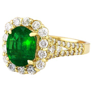 2.35 Carat Natural Emerald 14K Solid Yellow Gold Diamond Ring - Fashion Strada