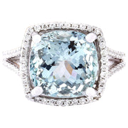 6.75 Carat Natural Aquamarine 14K Solid White Gold Diamond Ring - Fashion Strada