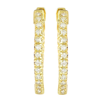 0.90 Carat Natural Diamond 14K Solid Yellow Gold Earrings - Fashion Strada
