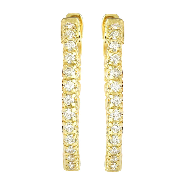 0.90 Carat Natural Diamond 14K Solid Yellow Gold Earrings