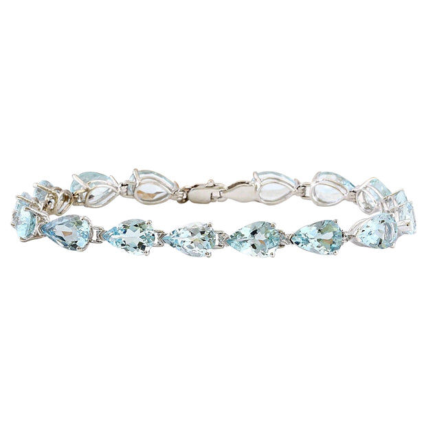 20.00 Carat Natural Aquamarine 14K Solid White Gold Bracelet