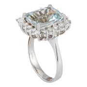 5.25 Carat Natural Aquamarine 14K Solid White Gold Diamond Ring - Fashion Strada