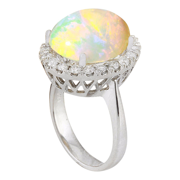 7.50 Carat Natural Opal 14K Solid White Gold Diamond Ring