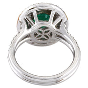 3.53 Carat Natural Emerald 14K Solid White Gold Diamond Ring - Fashion Strada