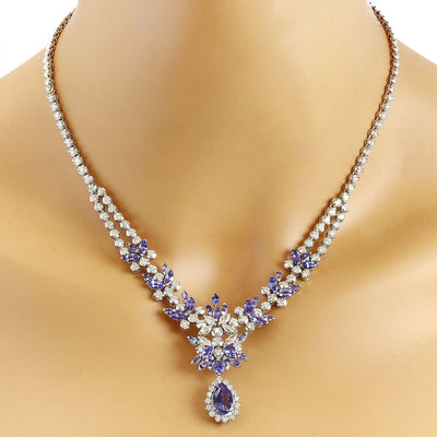 18.86 Carat Natural Tanzanite 14K Solid White Gold Diamond Necklace