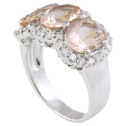 8.23 Carat Natural Morganite 14K Solid White Gold Diamond Ring