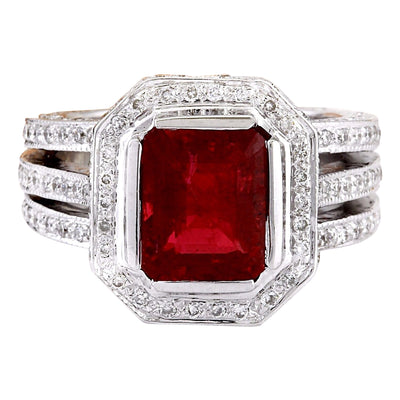 5.50 Carat Natural Rubelite 14K Solid White Gold Diamond Ring