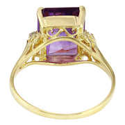 5.14 Carat Natural Amethyst 14K Solid Yellow Gold Diamond Ring