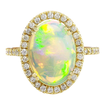3.60 Carat Natural Opal 14K Solid Yellow Gold Diamond Ring