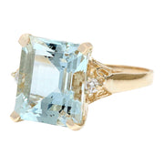 5.16 Carat Natural Aquamarine 14K Solid Yellow Gold Diamond Ring