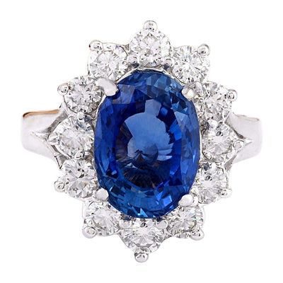 6.83 Carat Natural Ceylon Sapphire 14K Solid White Gold Diamond Ring