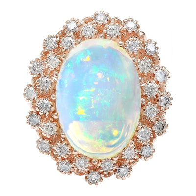 8.58 Carat Natural Opal 14K Solid Rose Gold Diamond Ring