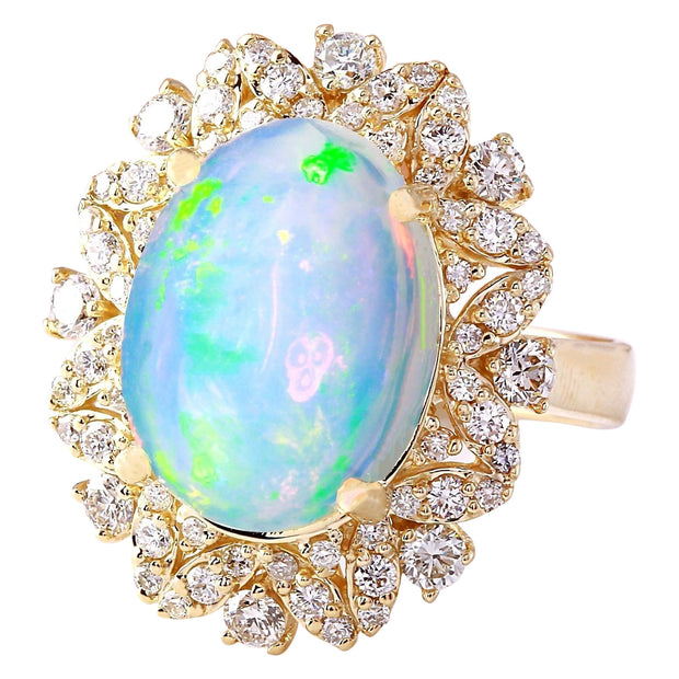7.68 Carat Natural Opal 14K Solid Yellow Gold Diamond Ring