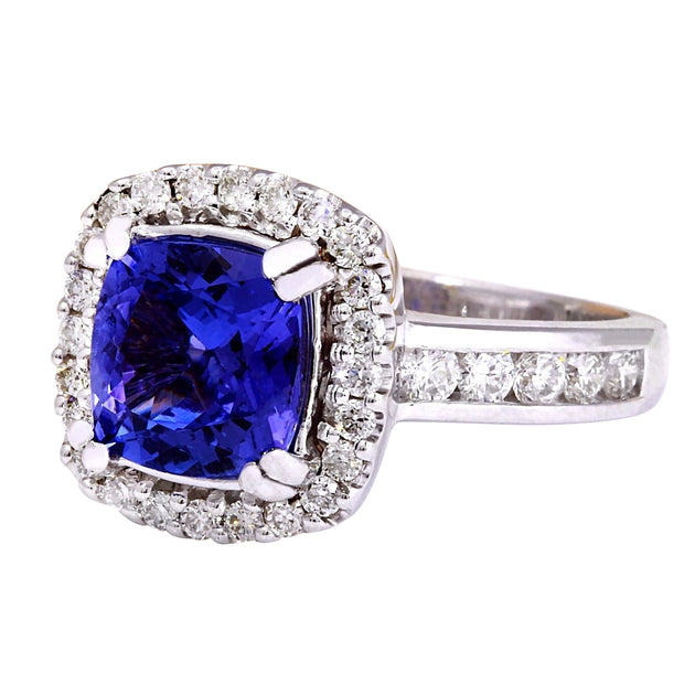 3.70 Carat Natural Tanzanite 14K Solid White Gold Diamond Ring