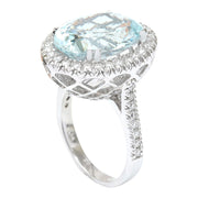7.5 Carat Natural Aquamarine 14K Solid White Gold Diamond Ring