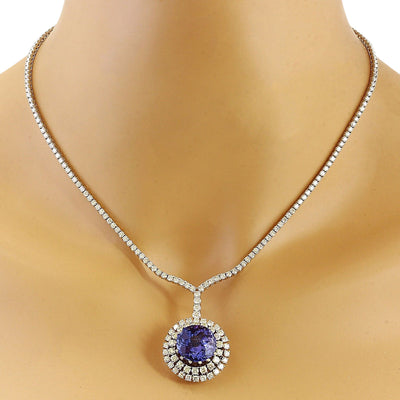 22.09 Carat Natural Tanzanite 14K Solid White Gold Diamond Necklace