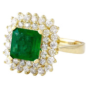 2.90 Carat Natural Emerald 14K Solid Yellow Gold Diamond Ring