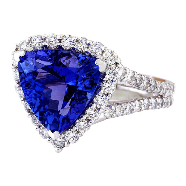 5.03 Carat Natural Tanzanite 14K Solid White Gold Diamond Ring - Fashion Strada