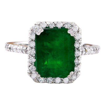 4.18 Carat Natural Emerald 14K Solid White Gold Diamond Ring