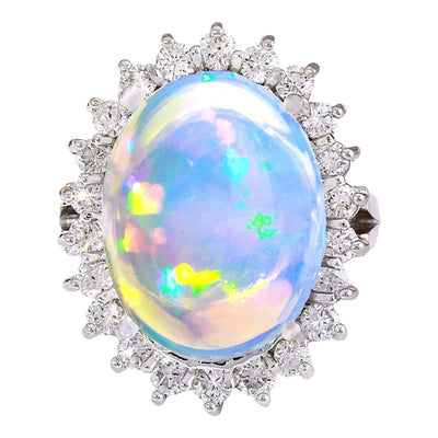 9.53 Carat Natural Opal 14K Solid White Gold Diamond Ring