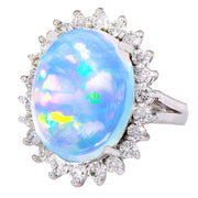 9.53 Carat Natural Opal 14K Solid White Gold Diamond Ring - Fashion Strada