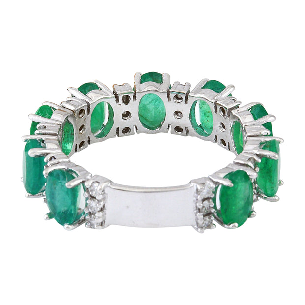 4.60 Carat Natural Emerald 14K Solid White Gold Diamond Ring
