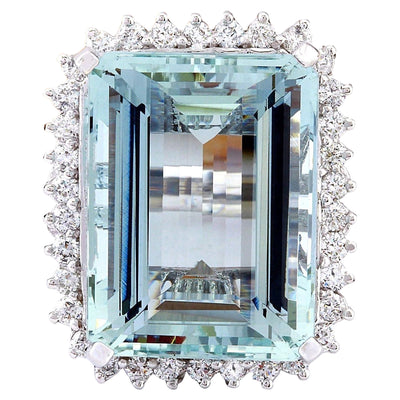 26.28 Carat Natural Aquamarine 14K Solid White Gold Diamond Ring