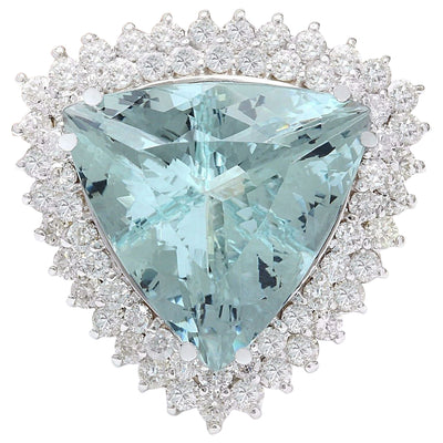 18.22 Carat Natural Aquamarine 14K Solid White Gold Diamond Ring - Fashion Strada