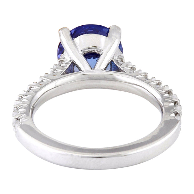 3.81 Carat Natural Tanzanite 14K Solid White Gold Diamond Ring - Fashion Strada