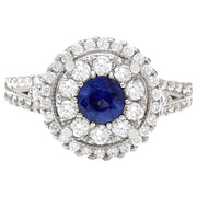 2.10 Carat Natural Sapphire 14K Solid White Gold Diamond Ring - Fashion Strada