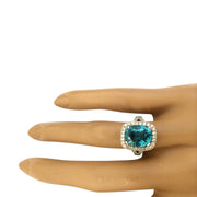 7.34 Carat Natural Zircon 14K Solid White Gold Diamond Ring - Fashion Strada