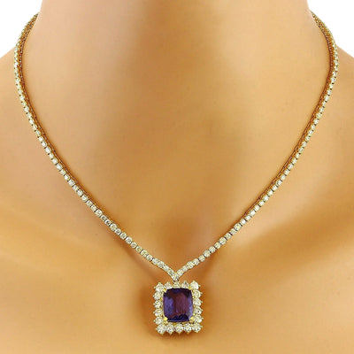 22.92 Carat Natural Tanzanite 14K Solid Yellow Gold Diamond Necklace