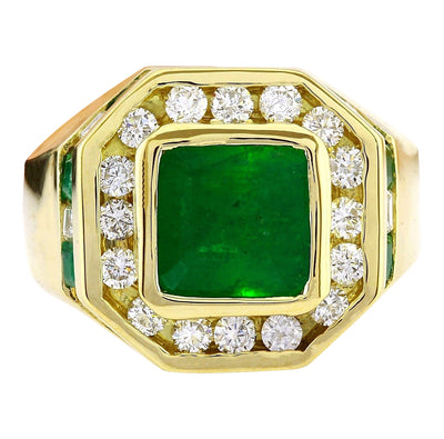 MENS 5.95 Carat Natural Emerald 14K Solid Yellow Gold Diamond Ring