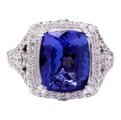 7.80 Carat Natural Tanzanite 14K Solid White Gold Diamond Ring