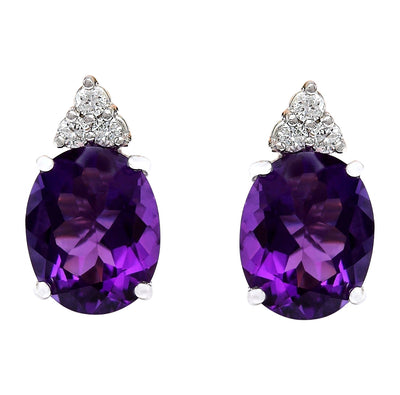 6.02 Carat Natural Amethyst 14K Solid White Gold Diamond Stud Earrings - Fashion Strada
