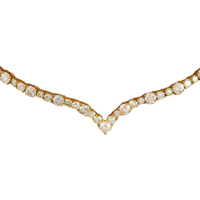 14.10 Carat Natural Diamond 14K Solid Yellow Gold Necklace