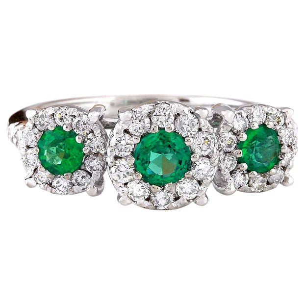 1.70 Carat Natural Emerald 14K Solid White Gold Diamond Ring