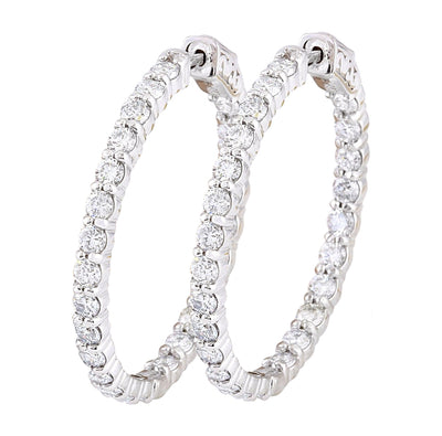 4.50 Carat Natural Diamond 14K Solid White Gold Earrings