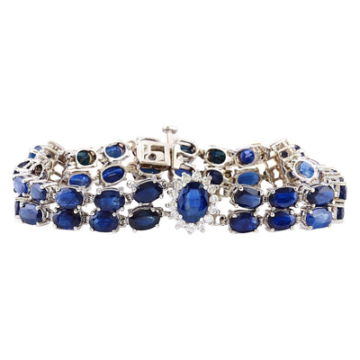 22.00 Carat Natural Sapphire 14K Solid White Gold Diamond Bracelet