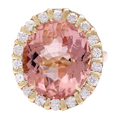 15.31 Carat Natural Morganite 14K Solid Yellow Gold Diamond Ring