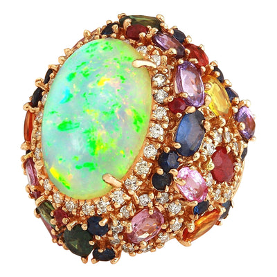 26.5 Carat Natural Opal, Sapphire 14K Solid Rose Gold Diamond Ring