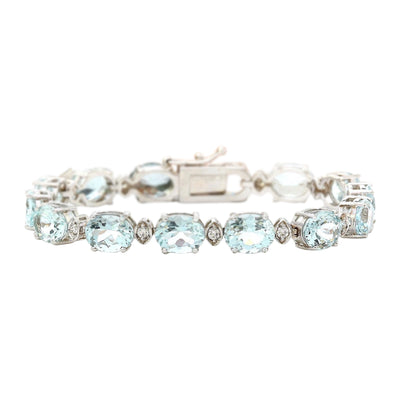 25.75 Carat Natural Aquamarine 14K Solid White Gold Diamond Bracelet
