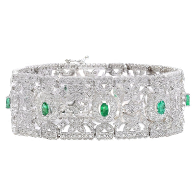 8.25 Carat Natural Emerald 14K Solid White Gold Diamond Bracelet